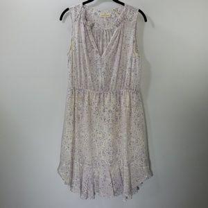 Rebecca Taylor Printed Silk V-neck A-line Dress 8